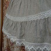 Одежда ручной работы. Ярмарка Мастеров - ручная работа Юбка из серого льна Арт.101-б с кружевом. Handmade.
