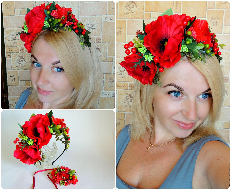 Веночек на голову с цветами своими руками