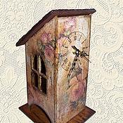 """Для дома и интерьера ручной работы. Ярмарка Мастеров - ручная работа Чайный домик-часы """"Розы"""". Handmade."""
