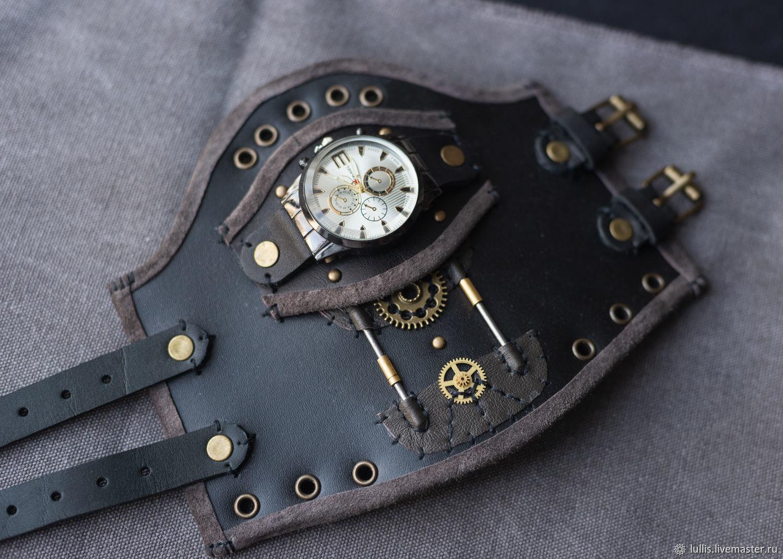 Стимпанк-браслет с часами из кожи, Аксессуары, Челябинск,  Фото №1