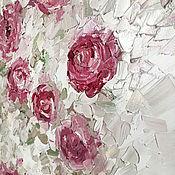 Украшения ручной работы. Ярмарка Мастеров - ручная работа Стильная картина маслом нежность розы в пастельных тонах. Handmade.