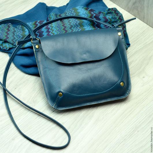 Кожаная сумка на плечо, кожаная сумка цвета морской волны, Ирина Болдина, наплечная кожаная сумка под документы, кожаная сумка бирюзовая
