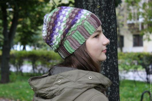"""Шапки ручной работы. Ярмарка Мастеров - ручная работа. Купить Шапка """"Сирень в зелени"""". Handmade. Комбинированный, милитари, шапка для девочки"""