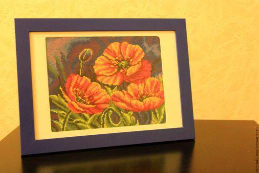 Картины цветов ручной работы. Ярмарка Мастеров - ручная работа. Купить Маки в ночи. Сделано с любовью. Handmade. Вышивка