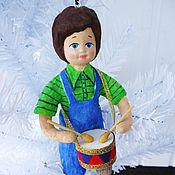 """Подарки к праздникам ручной работы. Ярмарка Мастеров - ручная работа Ватная игрушка """"Мальчик с барабаном"""". Handmade."""