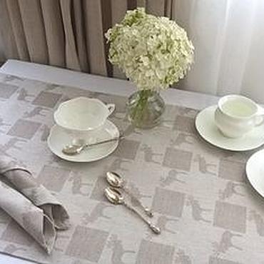 Для дома и интерьера ручной работы. Ярмарка Мастеров - ручная работа Дорожка льняная в скандинавском стиле Лоси. Handmade.