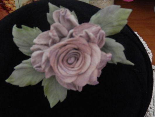 Цветы ручной работы. Ярмарка Мастеров - ручная работа. Купить Цветы из кожи. Роза шебби брошь  (продана). Handmade. Кремовый