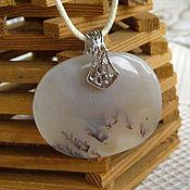 Украшения handmade. Livemaster - original item Pendant made of dendric (moss) agate. Handmade.