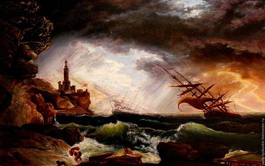 """Пейзаж ручной работы. Ярмарка Мастеров - ручная работа. Купить """" Кораблекрушение """". Handmade. Хаки, картина на заказ, пейзаж"""