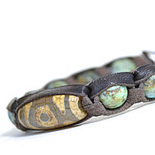 Фен-шуй и эзотерика handmade. Livemaster - original item Amulet talisman bead with DZI and turquoise. Shamballa genuine leather. Handmade.