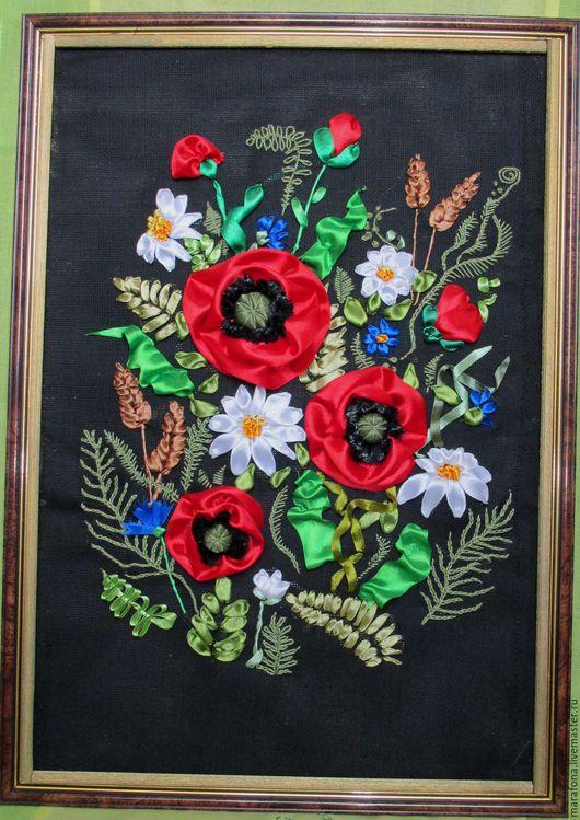 """Картины цветов ручной работы. Ярмарка Мастеров - ручная работа. Купить Картина, вышитая атласными лентами """"Красные маки"""". Handmade."""