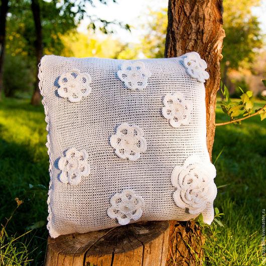 Текстиль, ковры ручной работы. Ярмарка Мастеров - ручная работа. Купить Подушка вязаная. Handmade. Белый, подушка декоративная