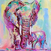 Картины и панно handmade. Livemaster - original item Painting with elephants