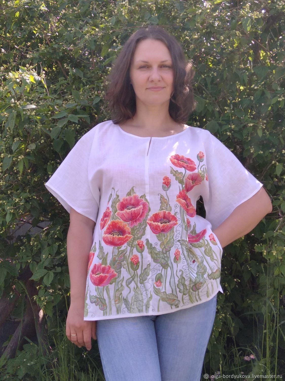 Блузка льняная - ручная роспись : Маки, Блузки, Смоленск,  Фото №1