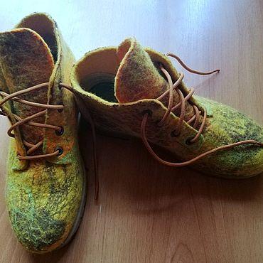 """Обувь ручной работы. Ярмарка Мастеров - ручная работа Валяные  женские ботинки  """"Цвет осени"""". Handmade."""