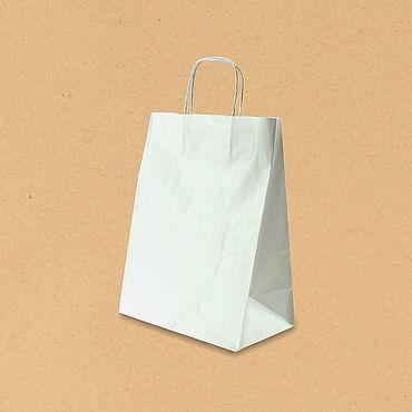 Материалы для творчества ручной работы. Ярмарка Мастеров - ручная работа Пакеты Белые с ручками 260х140х350. Handmade.