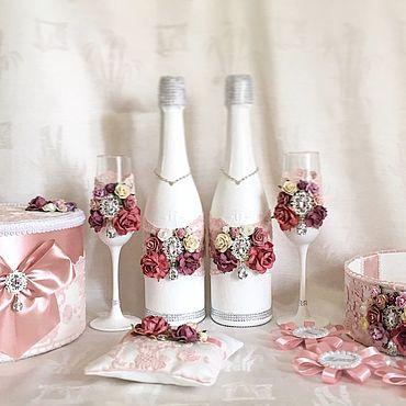Свадебный салон ручной работы. Ярмарка Мастеров - ручная работа Свадебный набор «Коттеджные розы». Handmade.