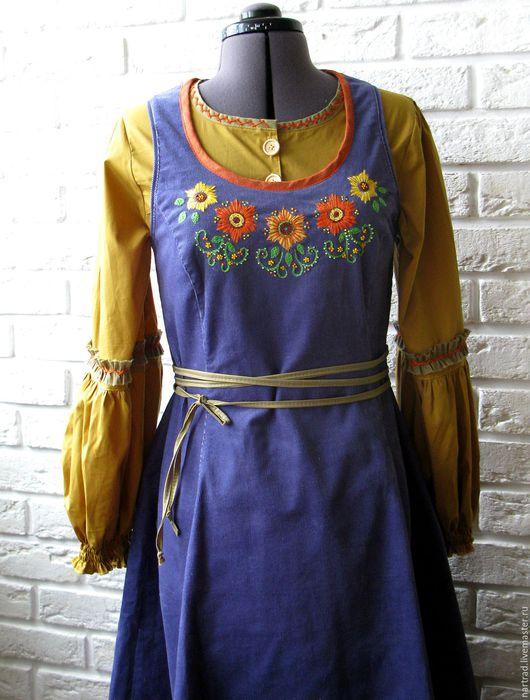 Этническая одежда ручной работы. Ярмарка Мастеров - ручная работа. Купить Сарафан в этническом стиле. Handmade. Сарафан вельвет купить