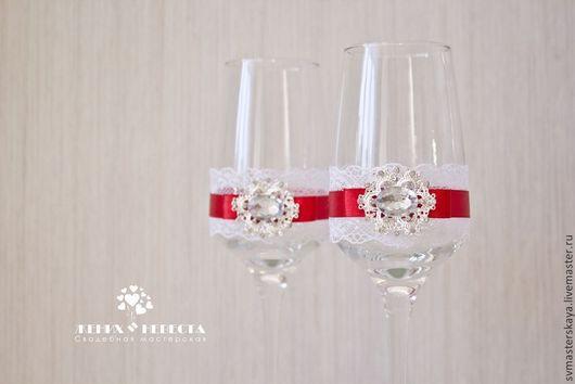 """Свадебные аксессуары ручной работы. Ярмарка Мастеров - ручная работа. Купить Свадебные бокалы """"Версаль"""" в красном. Handmade. Ярко-красный"""