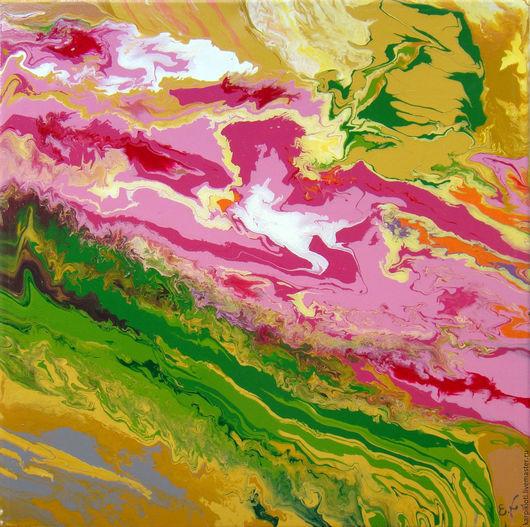 Абстракция ручной работы. Ярмарка Мастеров - ручная работа. Купить Абстрактный весенний пейзаж 50 x 50см. Handmade. Картина