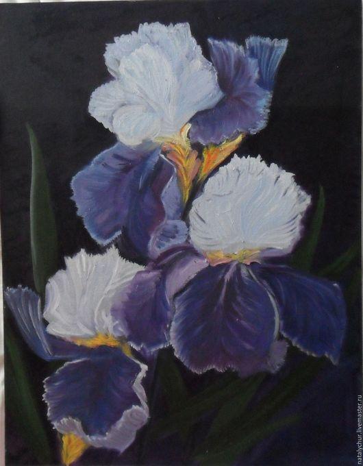 Картины цветов ручной работы. Ярмарка Мастеров - ручная работа. Купить цветы ирисы. Handmade. Фиолетовый, интересный подарок