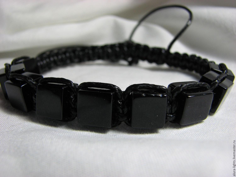 Bracelets Handmade Livemaster Men S Shamballa Bracelet Made Of Black Agate