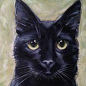 Картины и панно handmade. Livemaster - original item Oil painting Black cat. Handmade.