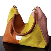 Сумки и аксессуары handmade. Livemaster - original item Hobo Yellow Red Leather Bag, Women`s Patchwork Bag. Handmade.