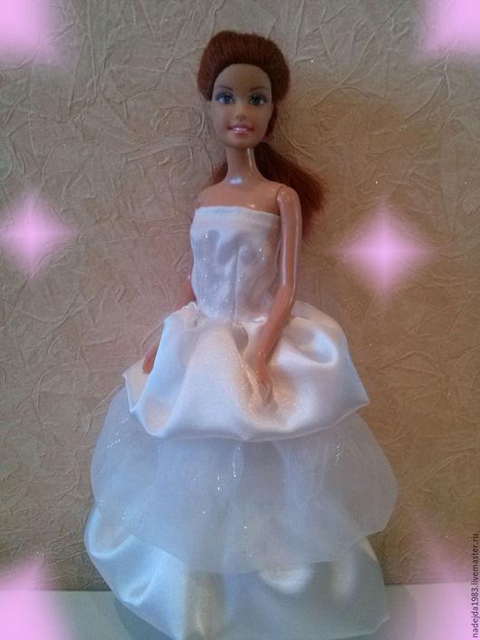 Одежда для кукол ручной работы. Ярмарка Мастеров - ручная работа. Купить Платье для Барби из креп-сатина и органзы. Свадебное. Handmade.
