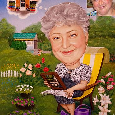 """Картины и панно ручной работы. Ярмарка Мастеров - ручная работа Шарж """"Самая счастливая!"""". Handmade."""