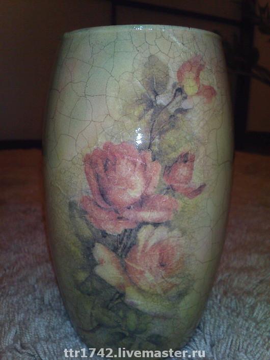 """Вазы ручной работы. Ярмарка Мастеров - ручная работа. Купить Ваза """"цветущие розы"""". Handmade. Подарок на новый год, акрил"""
