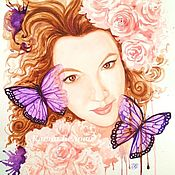 Картины и панно handmade. Livemaster - original item A portrait from a photo in the style of fantasy color custom watercolor. Handmade.
