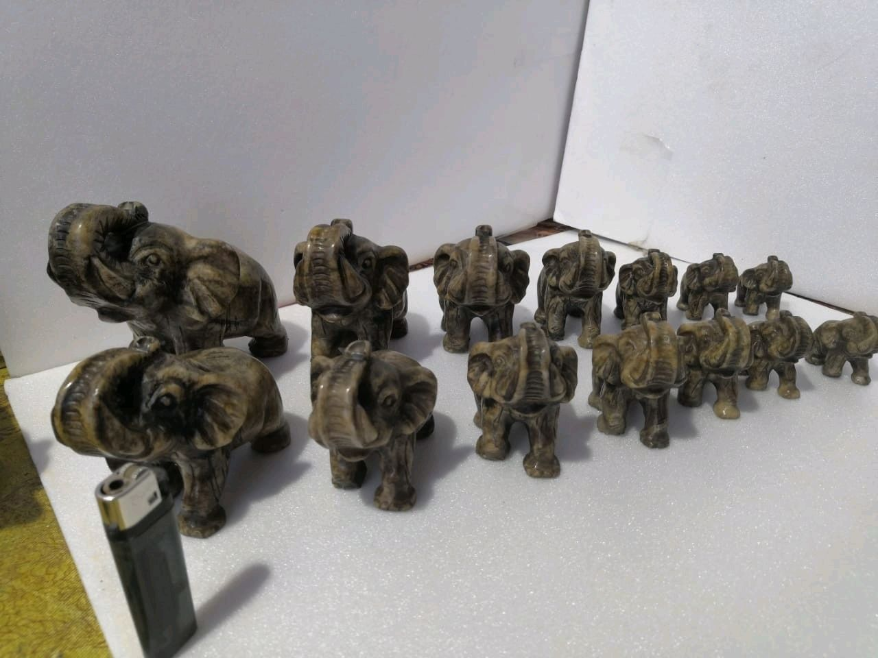 Sculpture of natural stone family of elephants, Figurines, Horde,  Фото №1