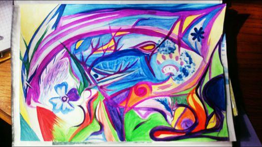 Абстракция ручной работы. Ярмарка Мастеров - ручная работа. Купить Абстрактная картина. Handmade. Картина, абстракция, дракон, акварель