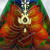 Посуда handmade. Livemaster - original item A bottle of the Lotus of the Buddha, stained glass painting. Handmade.