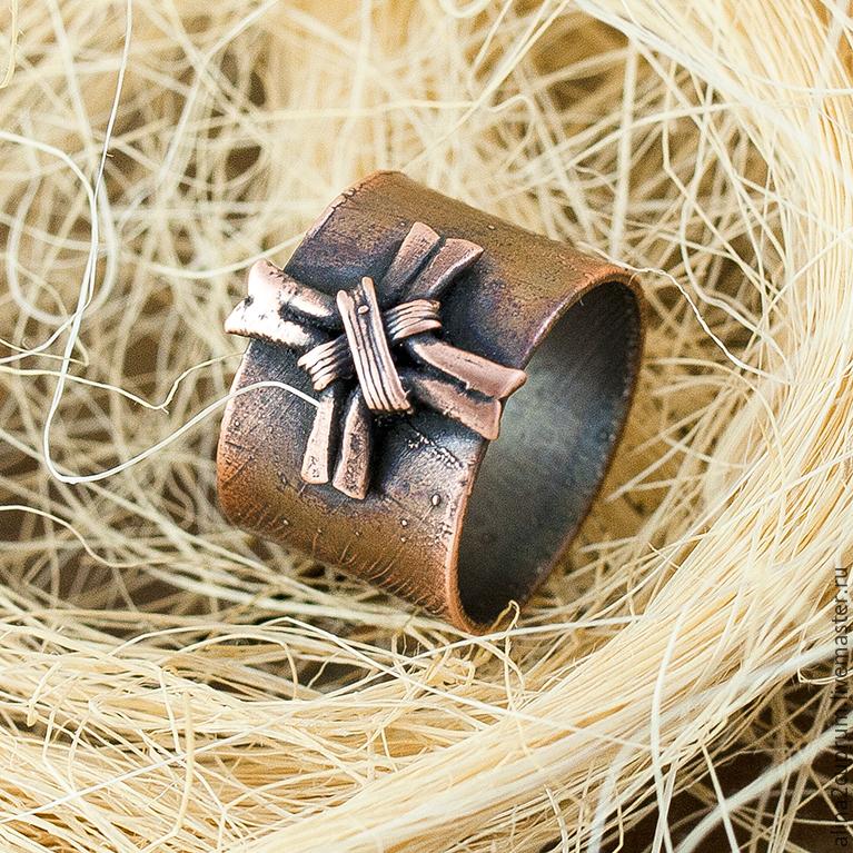 Украшения для мужчин, ручной работы. Ярмарка Мастеров - ручная работа. Купить Мужское кольцо из меди. Handmade. Коричневый, медный