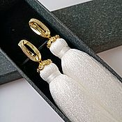 Украшения handmade. Livemaster - original item Earrings-brush white with gold. Handmade.