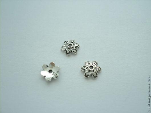 Для украшений ручной работы. Ярмарка Мастеров - ручная работа. Купить Шапочки серебро 925 проба черненые 6мм. Handmade.