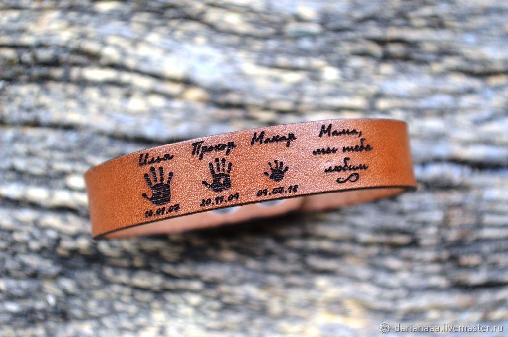 Leather bracelet with engraving, Bead bracelet, Sizran,  Фото №1
