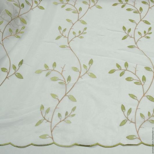 Тюль для штор - веточки с листьями