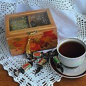 Для дома и интерьера ручной работы. Ярмарка Мастеров - ручная работа Чайная шкатулка Вот и осень. Handmade.