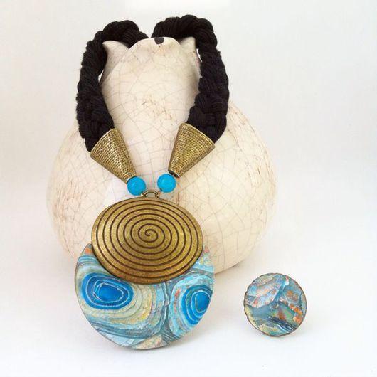 Комплекты украшений ручной работы. Ярмарка Мастеров - ручная работа. Купить Голубой кулон и кольцо из полимерной глины ОДИССЕЯ. Handmade.
