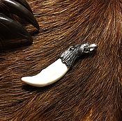 Фен-шуй и эзотерика ручной работы. Ярмарка Мастеров - ручная работа крупный клык волка с серебряным навершием , доставка бесплатно. Handmade.