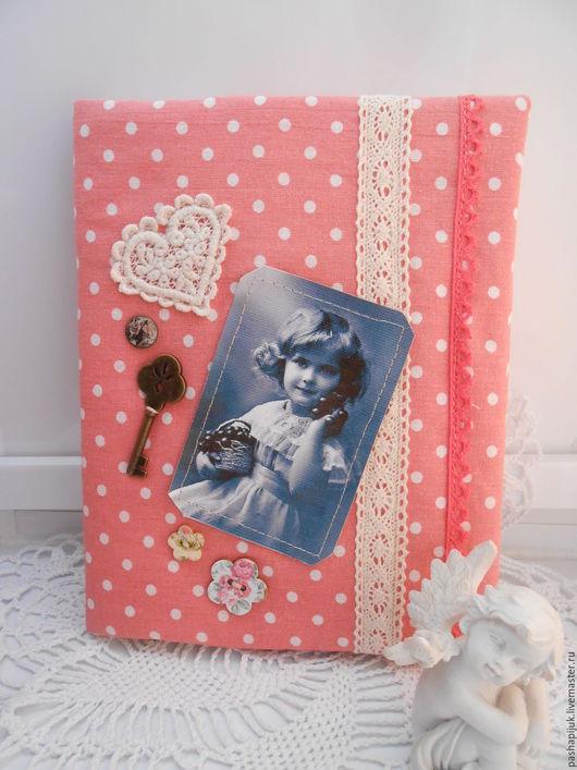"""Блокноты ручной работы. Ярмарка Мастеров - ручная работа. Купить Блокнот ручной работы """"Ретро горошек""""(большой). Handmade. Розовый, подарок"""