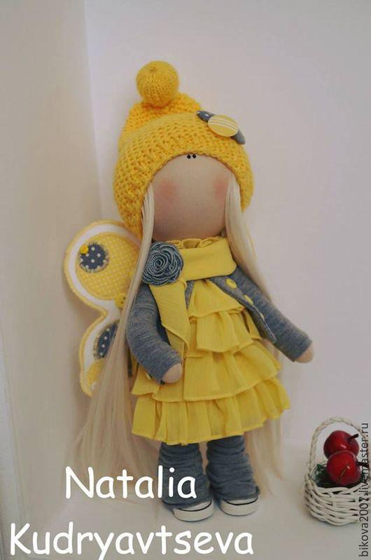 Куклы тыквоголовки ручной работы. Ярмарка Мастеров - ручная работа. Купить Интерьерная куколка Мотылек. Handmade. Желтый, хлопок 100%
