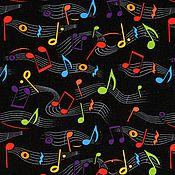 """Материалы для творчества ручной работы. Ярмарка Мастеров - ручная работа Ткань хлопок """"Музыка ноты"""" отрез 52х27 см. Handmade."""