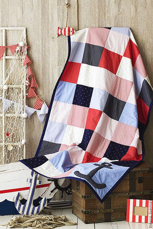 Пледы и одеяла ручной работы. Ярмарка Мастеров - ручная работа. Купить Лоскутное одеяло для любителей морских приключений. Handmade.