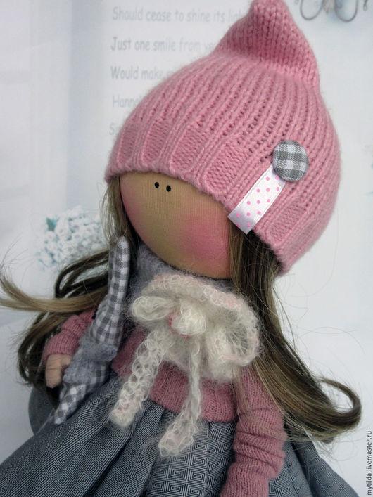 Куклы тыквоголовки ручной работы. Ярмарка Мастеров - ручная работа. Купить Кнопочка с зайкой. Handmade. Розовый, кукла малышка