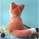 лисенок,шерсть,валяная игрушка,лиса,рыжий,игрушка из шерсти.