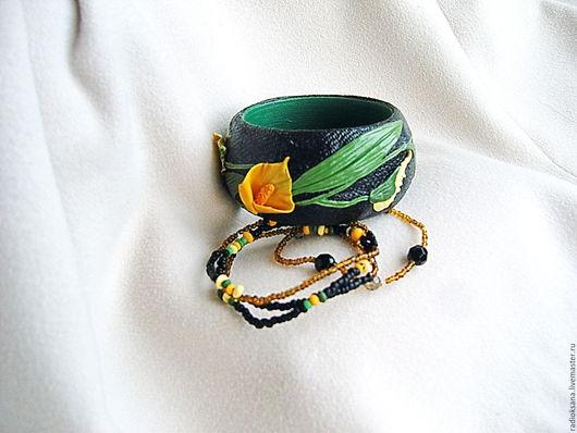 """Браслеты ручной работы. Ярмарка Мастеров - ручная работа. Купить Комплект браслетов """"Каллы"""". Handmade. Браслет ручной работы, дерево"""